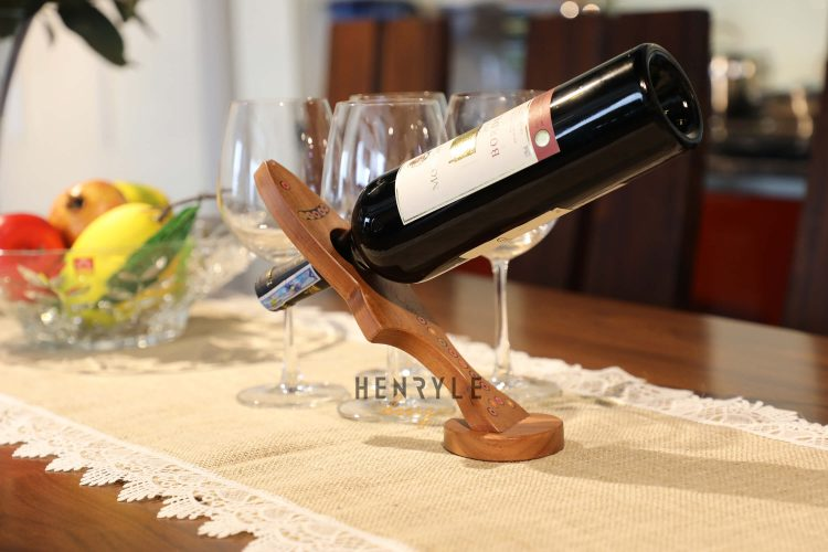 Colored Pencil Free Standing Salmon Shape Balancing Wine Bottle Holder