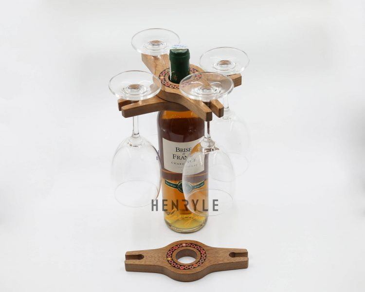 Colored Pencil Wine Bottle Holder with 2 Long Stem Glasses