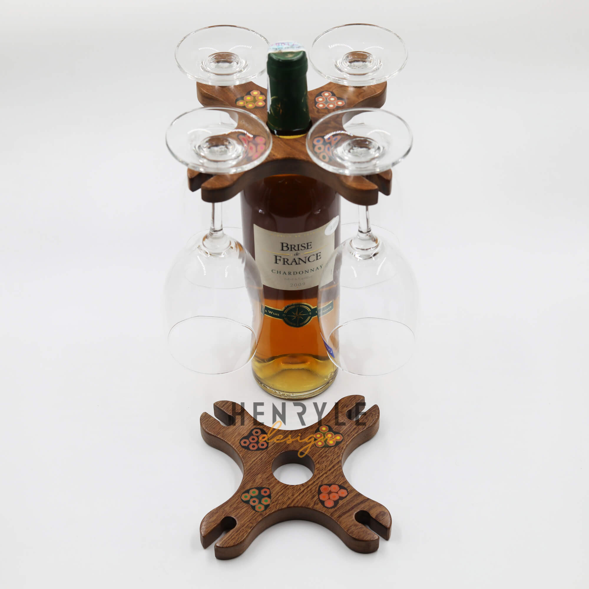 Colored Pencil Wine Bottle Holder with 4 Long Stem Glasses