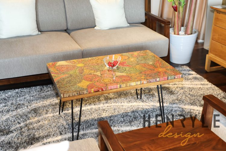 Exotic Flowers Colored-Pencil Coffee Table