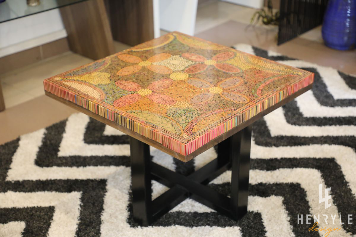 Five Blooms Colored-Pencil Coffee table 3