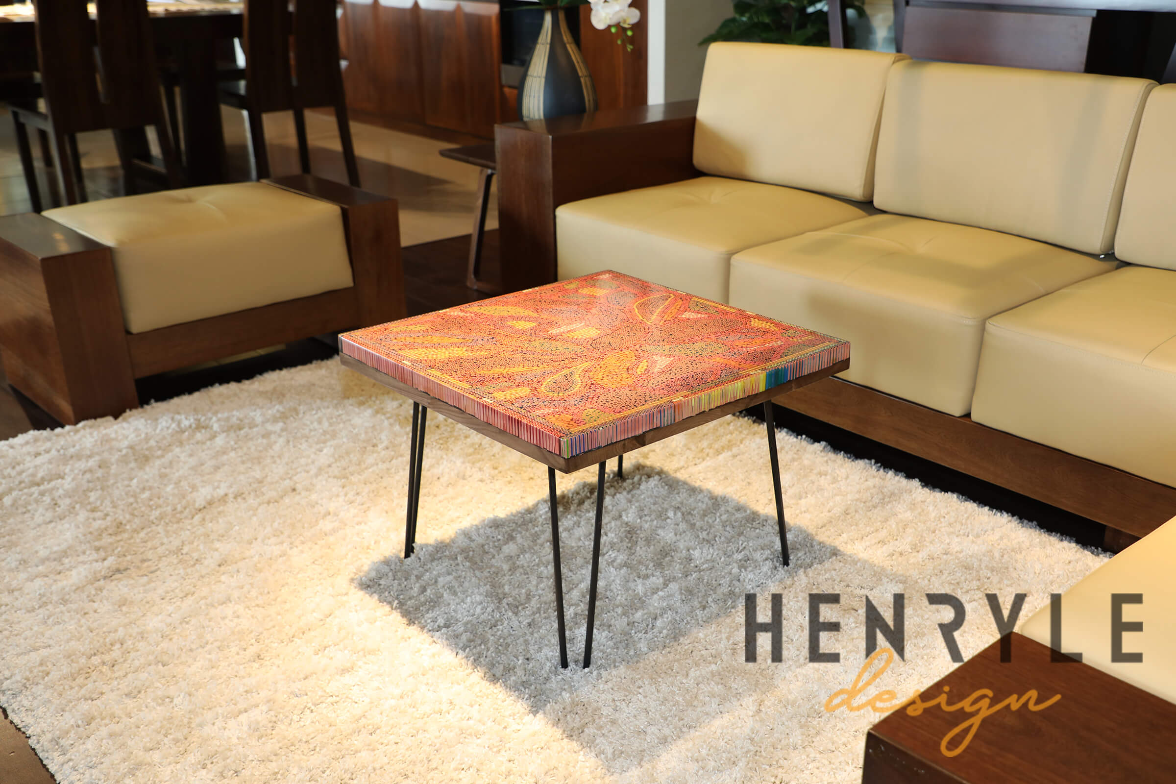 Lotus Pond Colored-Pencil Coffee Table