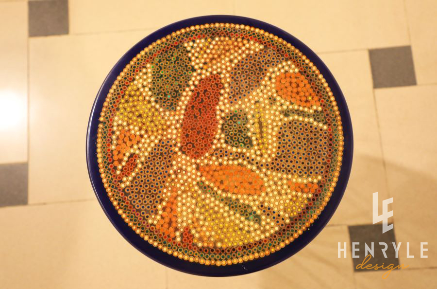 Lotus Pond Colored-Pencil Coffee Table VI 1