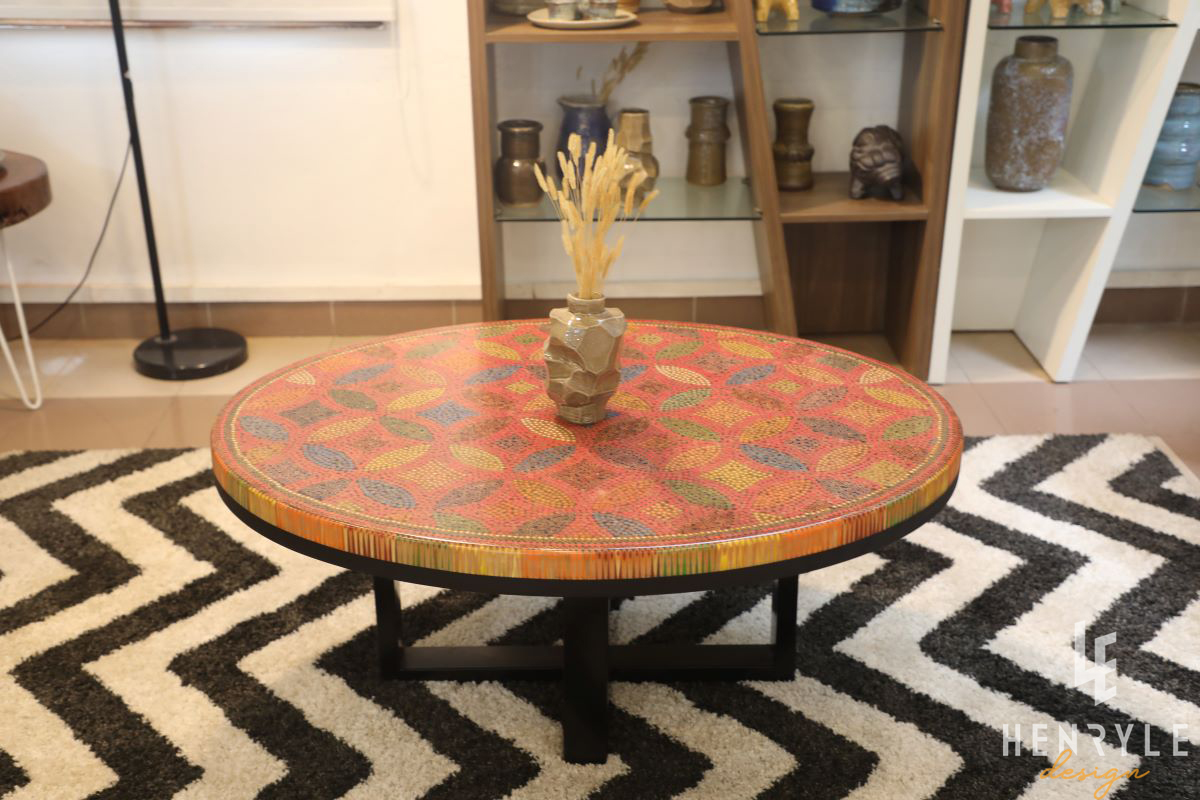 Lucky Coins Colored Pencil Coffee Table III 4