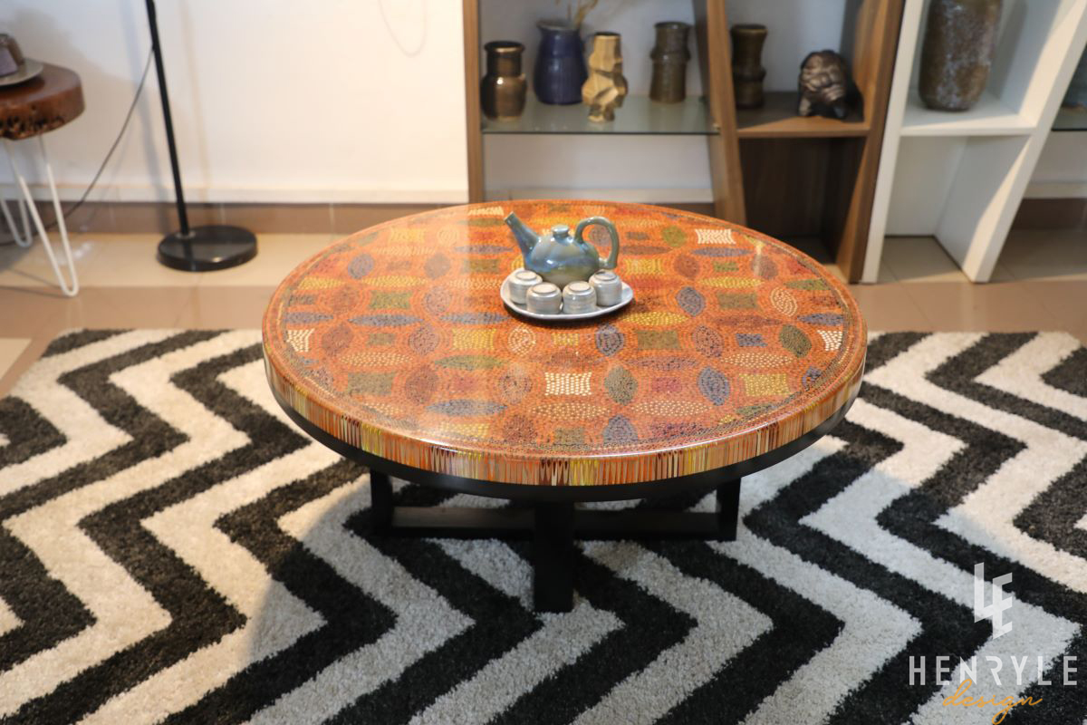 Lucky Coins Colored Pencil Coffee Table IV 7