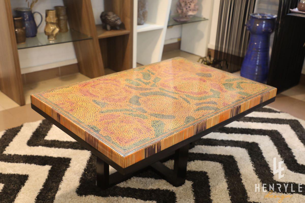 Rose Garden Colored-Pencil Coffee Table II 1