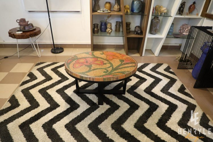 Single Curves Colored-Pencil Coffee Table 1