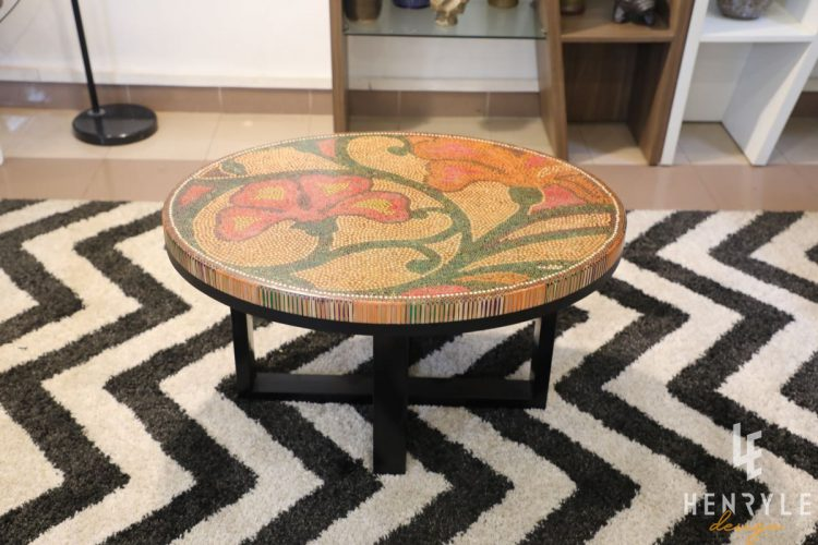 Single Curves Colored-Pencil Coffee Table 2