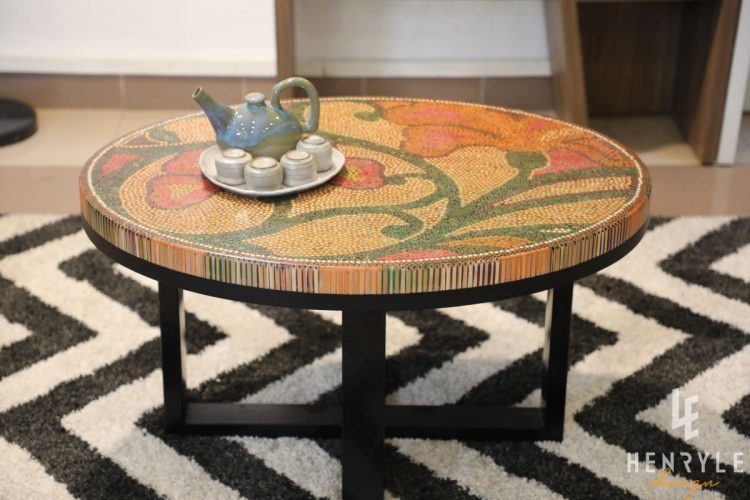 Single Curves Colored-Pencil Coffee Table 7