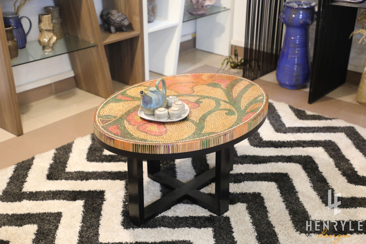 Single Curves Colored-Pencil Coffee Table 8