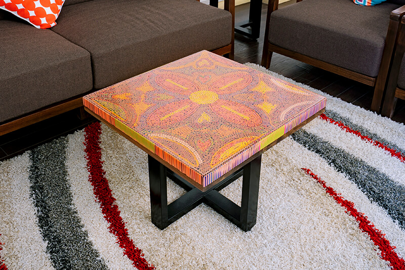 Square wood art coffee tables