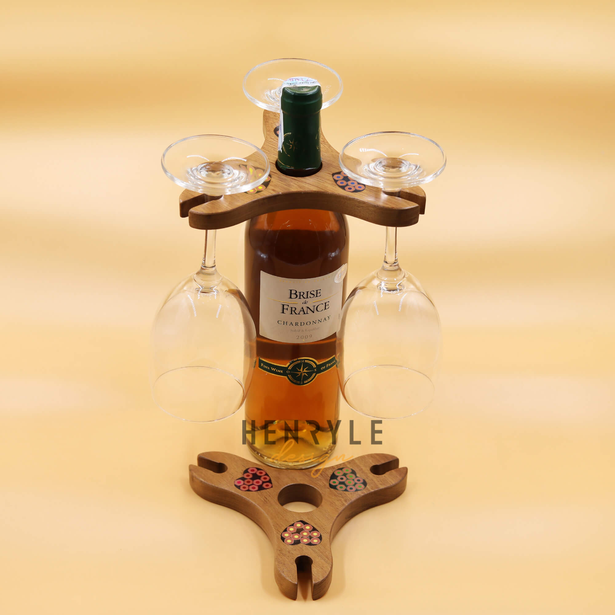 Triangle Colored Pencil Wine Bottle Holder with 3 Long Stem Glasses