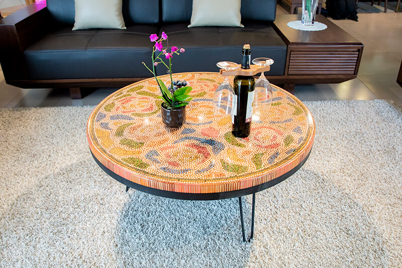 Unique round coffee table in living room