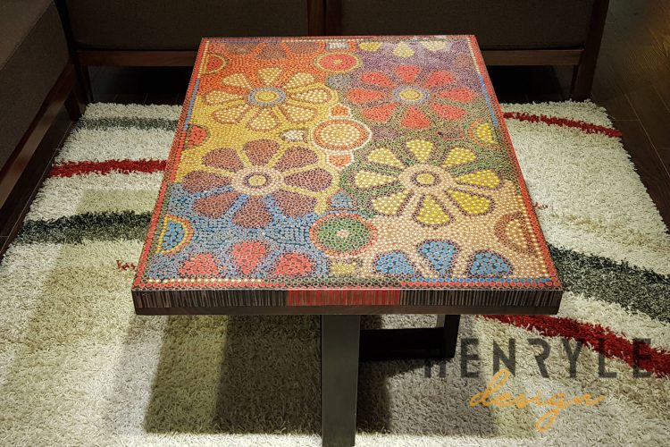 Wild Cosmos Flower Colored-Pencil Coffee Table