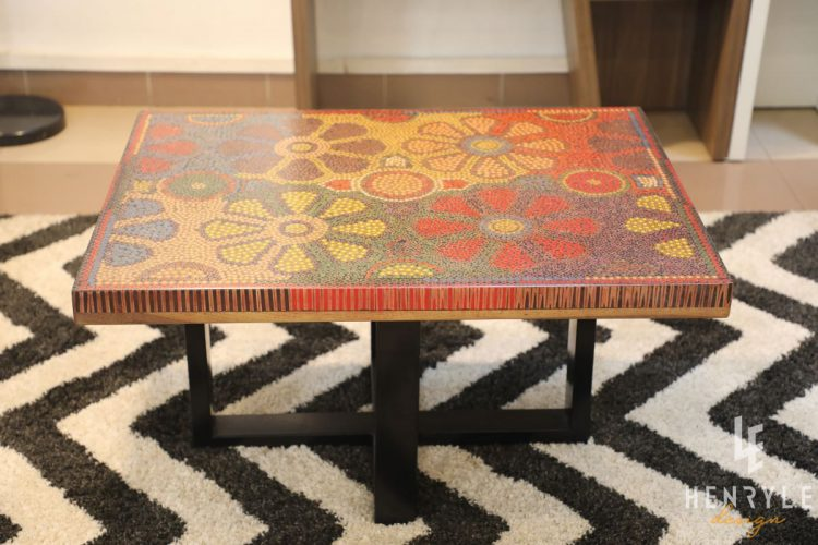 Wild Cosmos Flower Colored-Pencil Coffee Table 6