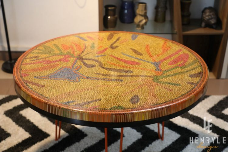 golden autumn round colored-pencil coffee table 1