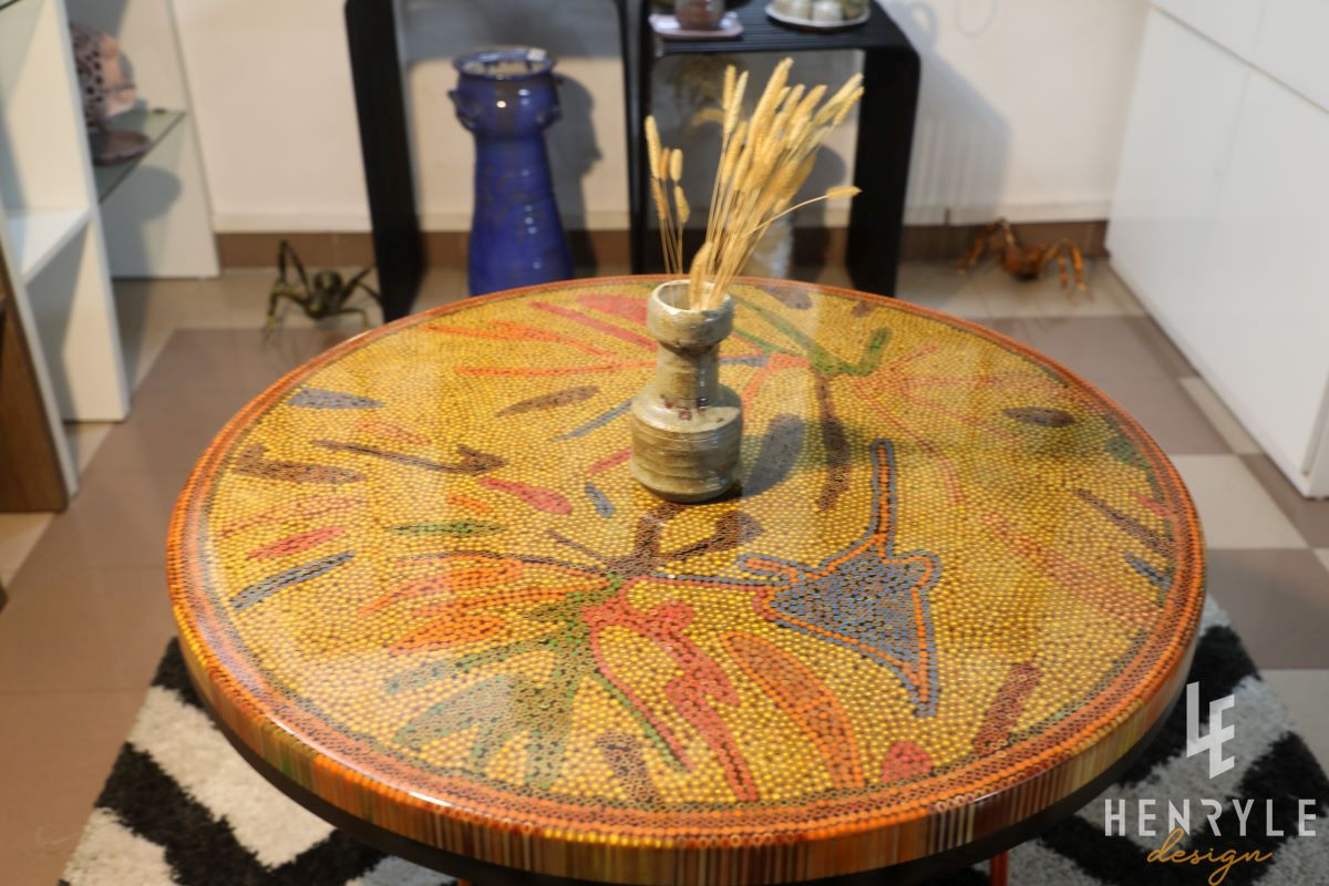 golden autumn round colored-pencil coffee table 4