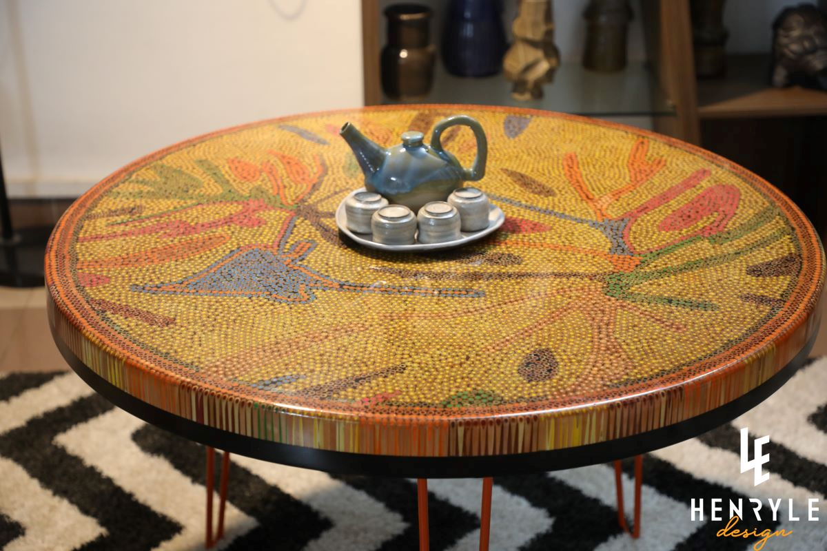 golden autumn round colored-pencil coffee table 6
