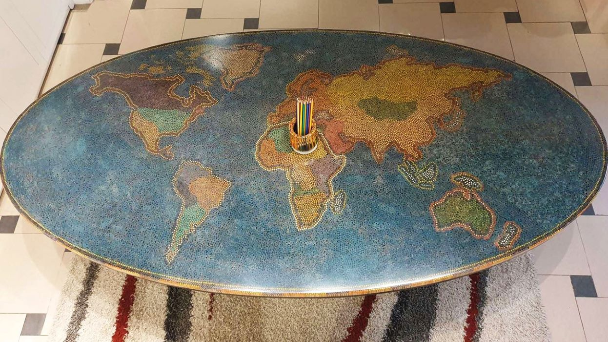 world colored pencil table